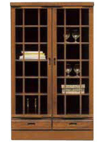 本棚 書棚 扉付き 出窓タイプ 幅90cm ミドルタイプ キャビネット おしゃれ ブックシェルフ 開戸 開き戸タイプ 引出し 収納家具 リビング収納 ガラス ガラス戸 大容量 木製 国産 日本製 完成品 シンプル ブラウン