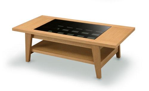 センターテーブル ウォールナット ガラステーブル ガラス 棚付き 幅120cm おしゃれ シンプル 棚 ローテーブル リビングテーブル テーブル 格子組み リモコン置き ライトブラウン ミディアムブラウン