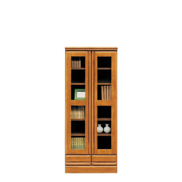 本棚 書棚 扉付き 60cm スリム ロータイプ キャビネット おしゃれ ブックシェルフ 北欧 引出し 収納家具 リビング収納 ガラス ガラス戸 大容量 木製 国産 日本製 完成品 シンプル ラバーウッド