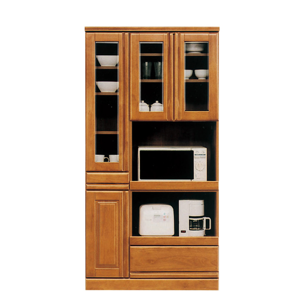 木の温もり感じる幅90cm 食器棚 オープンボード 調理器具などすっきり収納していただけます 安全安心の国産 期間限定特別価格 扉はすべて開き戸式なので出し入れに便利 オープンスペースあり 国産 90幅 キッチンボード レンジ台 ハイタイプ キッチン収納 キッチン ラバーウッド 開梱設置 レンジラック ガラス戸 収納 キッチンラック 激安通販ショッピング ラック レンジボード キッチン収納棚 台所 棚 90