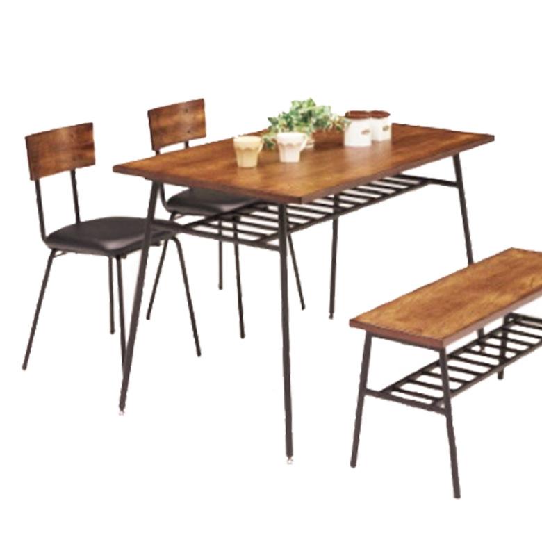 ダイニングテーブル 4人掛け テーブル 120cm レトロ ヴィンテージ アイアン スチール ブラック テーブルのみ 4人用 テーブル単品 単品 シンプル 食卓 ダイニング テーブル 棚付き 木製 シンプル モダン 新生活 引っ越し 新築 リフォーム