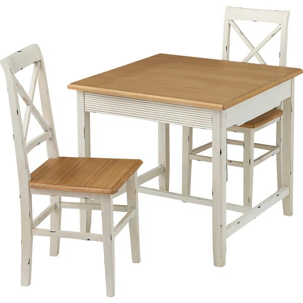 ダイニング3点セット 食卓セット 幅80cm角 天然木パイン フレンチカントリー お姫様カントリー 北欧風