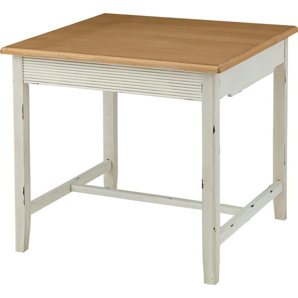 ダイニングテーブル 食卓机 幅80cm角 天然木パイン フレンチカントリー お姫様カントリー 北欧風