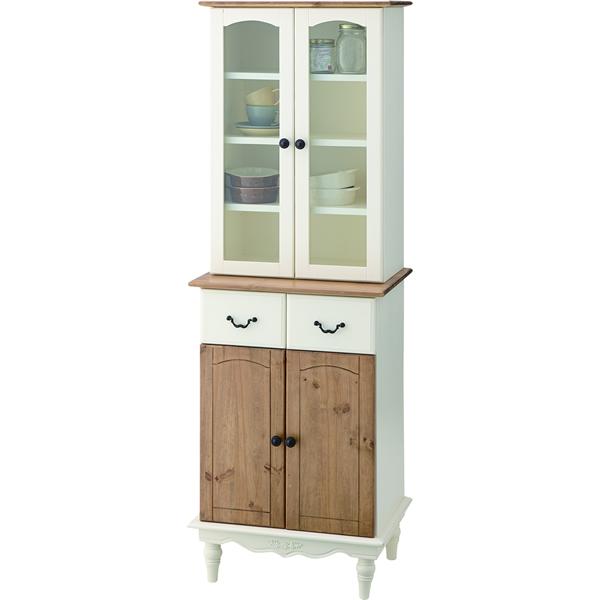カップボード キッチンボード 食器棚 モダンカントリー 天然木パイン・マホガニー 5mm強化ガラス