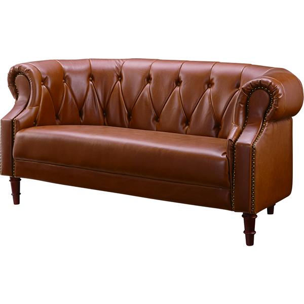 2Pソファ 二人掛け椅子 ボタンステッチ 木フレーム ポケットコイル ウィービングベルト ソフトレザー ヴィンテージ法人様宛(個人様でも屋号/店名有)はお安くなります。