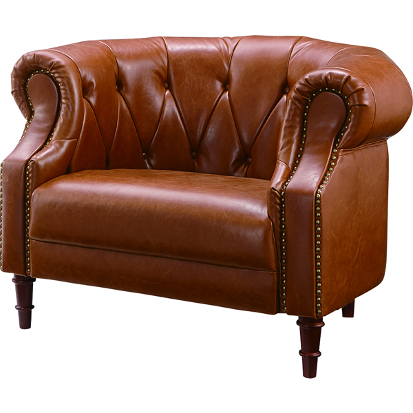 1Pソファ 一人掛け椅子 ボタンステッチ 木フレーム ポケットコイル ウィービングベルト ソフトレザー ヴィンテージ