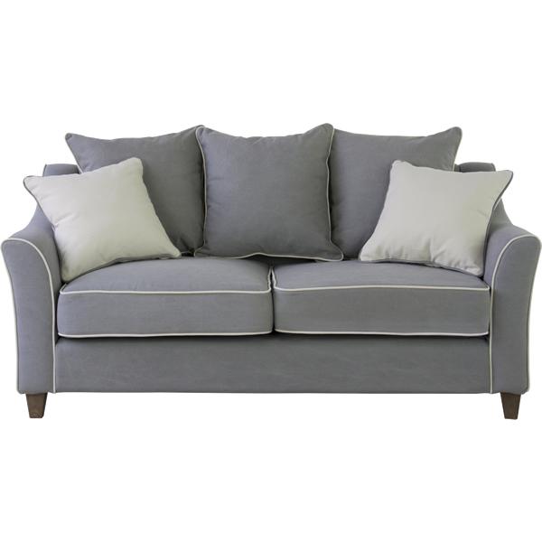 ソファ 2Pソファ ファブリック 二人掛け椅子 ウレタン Sバネ クッション2個付き ブラウン グレー