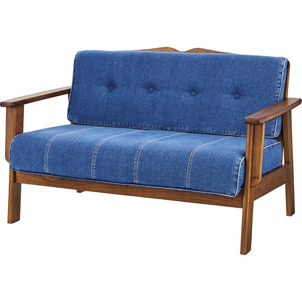 2Pソファ 二人掛け椅子 天然木ミンディ コットン ジーンズ風 ブルー色