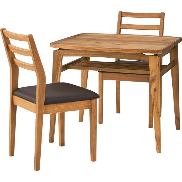 ダイニング3点セット 食卓机 80cm角 テーブル天然木(アカシア) 4本脚 収納棚 チェア天然木ラバーウッド 座面合皮