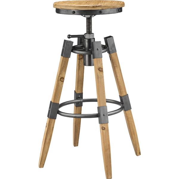 ハイスツール 天然木 杉 円形座板 昇降機能