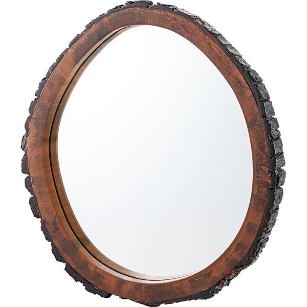 ウッドミラーL 吊鏡 壁掛け 3mmガラス 天然木 マホガニー