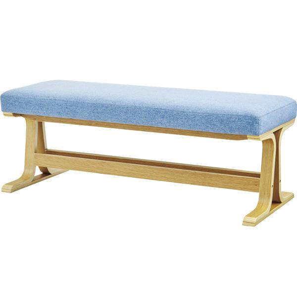 ベンチ 長椅子 天然木化粧合板(オーク) ラッカー塗装 コットン ポリエステル 2色対応