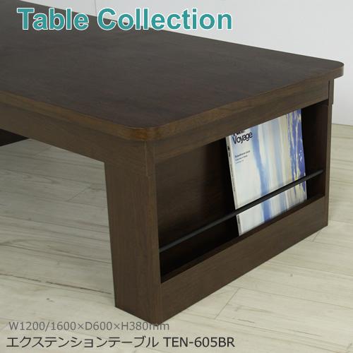 【エクステーションテーブル】TEN-605BR/ブラウン側面にはマガジンラック付