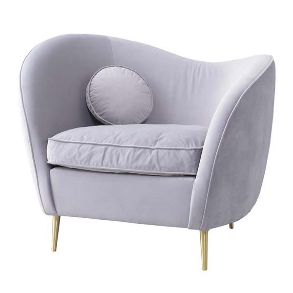 エステ ソファ1人掛 1Pソファ 1人掛け椅子 ハート型 お姫様 ベロア グレー ピンク