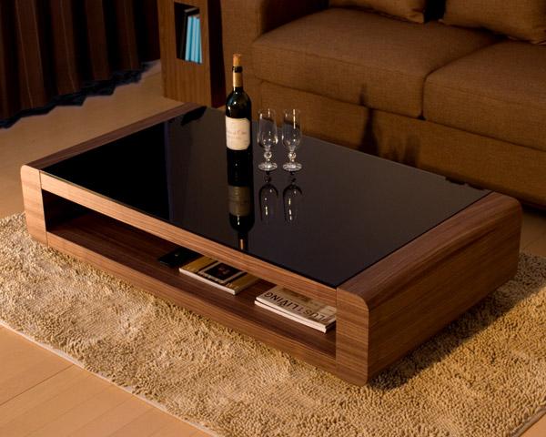 ブラックガラストップリビングテーブル/Loob(ウォールナット)チューブ型のスタイルにブラックガラスとのコラボレーション。