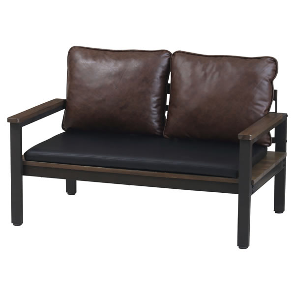 フュージョン 2Pソファベンチ 二人掛け椅子 ラブチェア PVC パイン無垢材