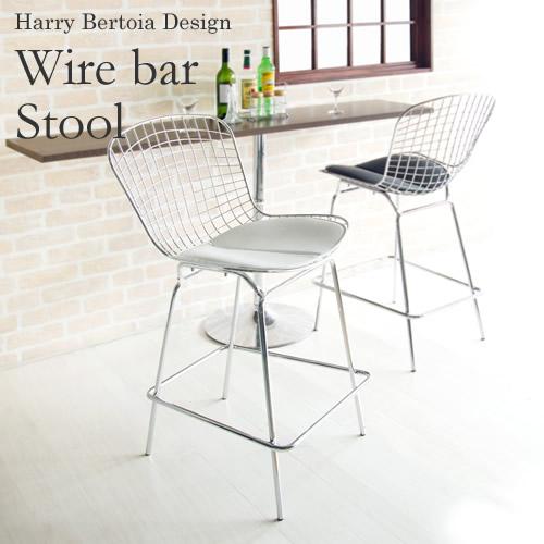 Harry Bertoia Design ハリー・ベルトイア ワイヤーバースツール ワイヤーバーチェア ワイヤーカウンターチェア WIRE BAR CHAIR ミッドセンチュリー リプロダクト ブラック ホワイト 合成皮革 代表的なデザイナー