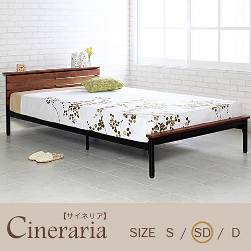 メンズ好みのクールな質感で快適な眠りの時間を。サイネリア/cineraria ベッドフレーム(セミダブル)ブラックアイアンのフレームに木のボードを印象的/床下に20cmのスペース