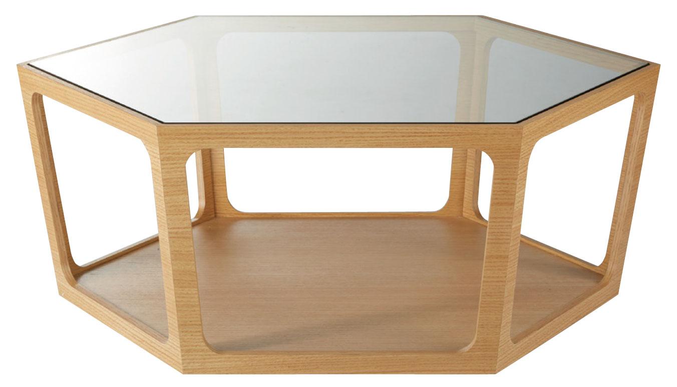 【送料無料】ローテーブル ガラス天板 六角形 W920 D800 H340いろんな方向から使えるヘキサゴン 突板仕上げ 木目調