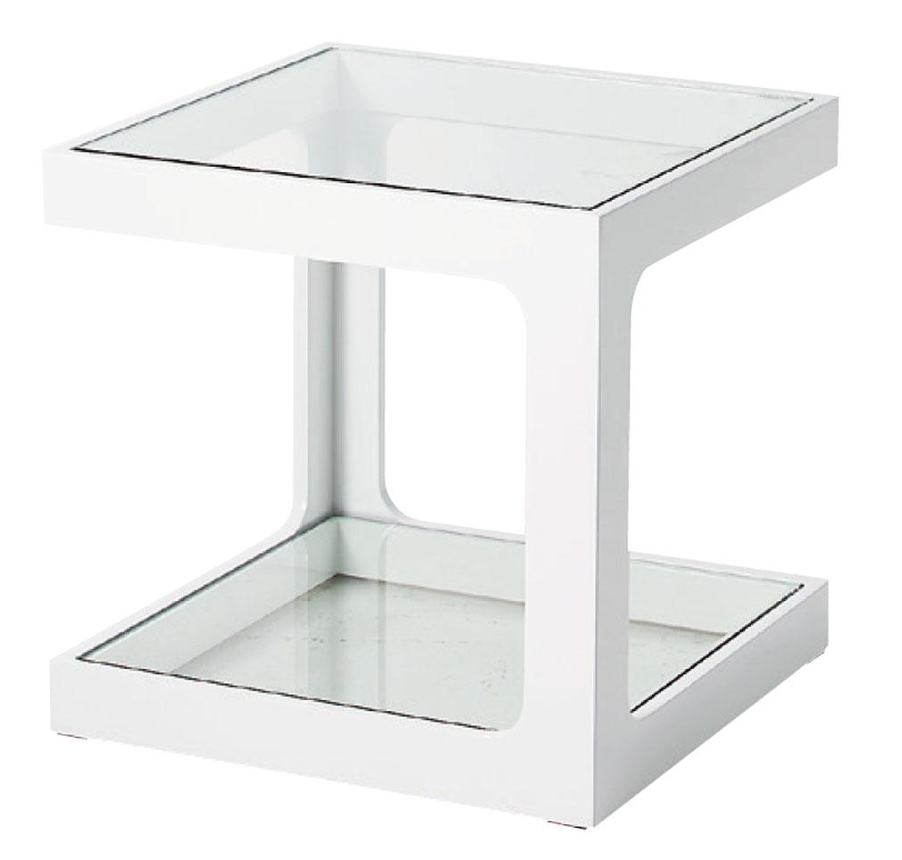 テーブル サイドテーブル ガラス天板 キューブ W400 D400 H400シンプルホワイト鏡面仕上げ