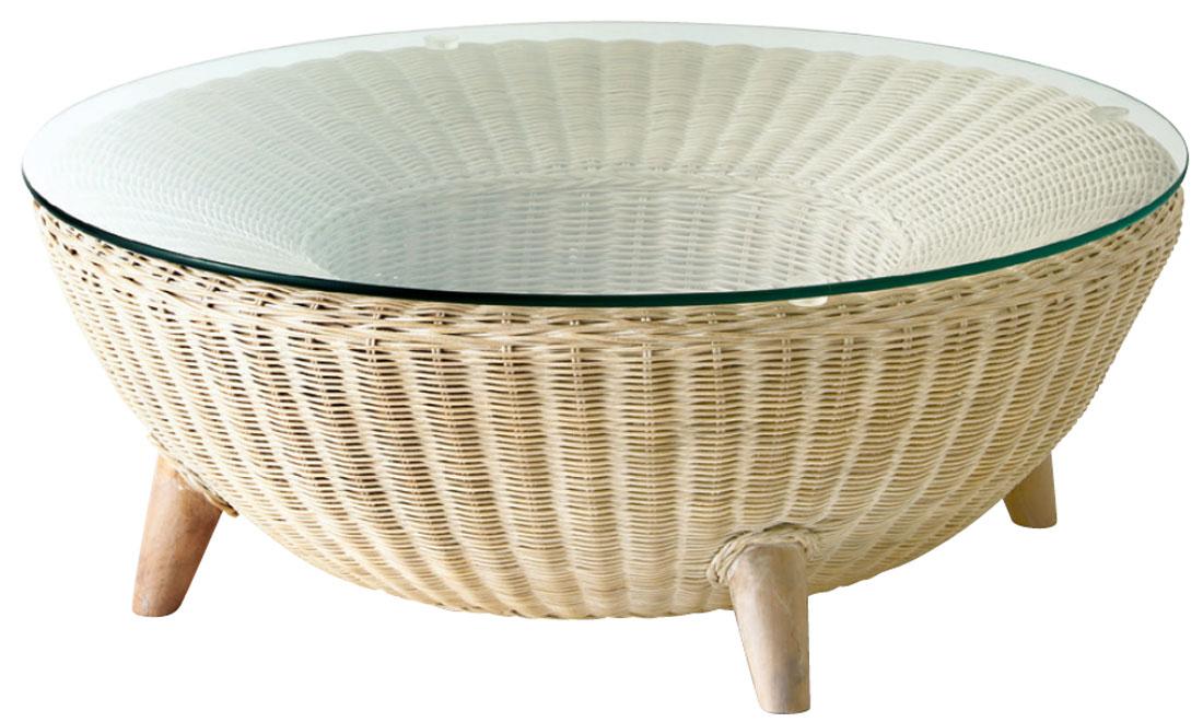 【送料無料】ローテーブル サイドテーブル ガラス天板 円形 ラウンド Φ800 H300ホワイトウォッシュ