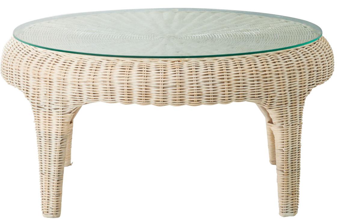 ローテーブル ラタンテーブル ガラス天板 円形 ラウンド Φ750 H350選べる3色 アジアンカフェテーブル zataku 座卓