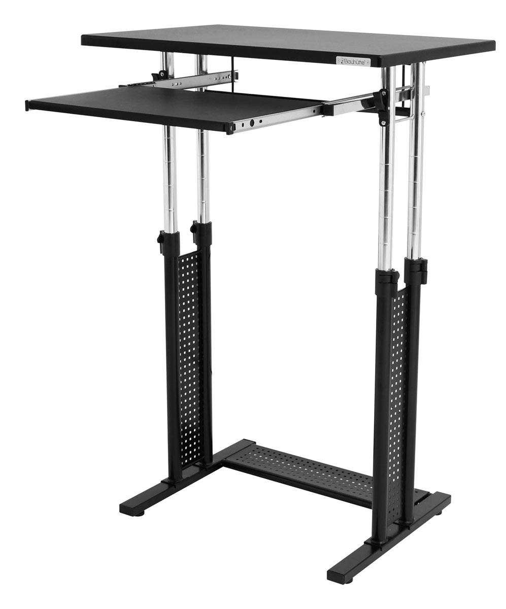 バウヒュッテ スタンディングデスク 天板上下昇降機能付き スライド式のキーボード置き付き インフォメーション ハイテーブル 演台 Be's製:Bauhutteシリーズ 送料無料 W700xD450xH755 BHD-700 新品 オフィス家具