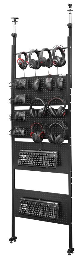 デバイスウォール 見せる収納 ウォールラック ゲーミングデバイスを壁面にディスプレイ収納 Be's製:Bauhutteシリーズ 送料無料 W700xD100xH2280 BHW-700 新品 オフィス家具