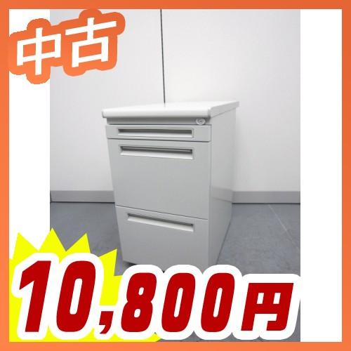 脇デスク 脇机 サイドデスク 3段 事務机 サイドキャビネット サイドワゴン 中古デスク ウチダ製:FEEDシリーズ