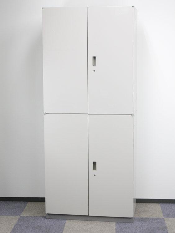 上下書庫 2段積書庫 両開き書庫 3段書庫 中古書庫 ご注文後の在庫確認となります イトーキ製:シンラインキャビネットシリーズ HTM-109HSS-WE 中古 オフィス家具 ベース付き 鍵付