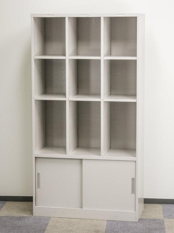整理棚 3列オープン書庫 引戸書庫 収納庫 コンビ書庫 多目的書庫 イトーキ製 W950xD400xH1800 HDK-9530-AN-WE 中古 オフィス家具