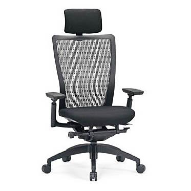 オフィスチェア 事務椅子 PCチェア デスクチェア 肘付 アイコ AICO製:R-5600シリーズ R-5655 新品 オフィス家具 ヘッドレスト付 可動肘付