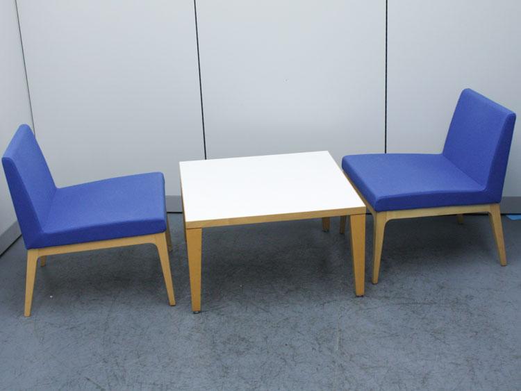 GWセール!20%OFF! ロビーチェア テーブルチェアセット 2人用 テーブルセット 木製テーブル ダイニングテーブル 相合家具製作所製 中古 オフィス家具