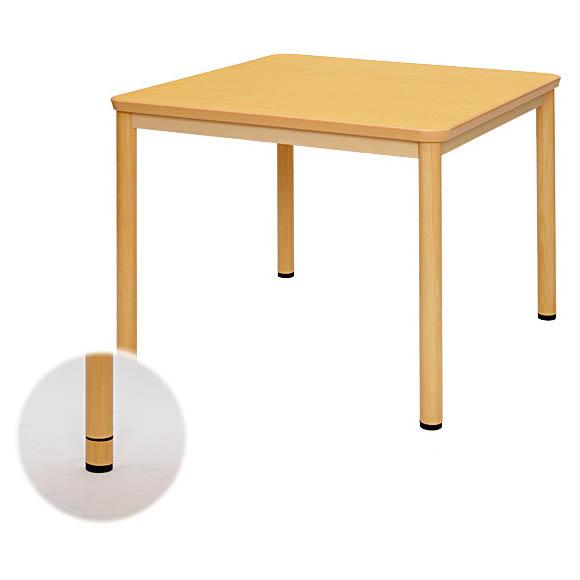 介護用テーブル W900xD900 ナチュラル 高さ調整 机 車椅子用 ダイニングテーブル 食卓 アール・エフ・ヤマカワ製 W900xD900xH690 RFKTB-0990NA 新品 オフィス家具