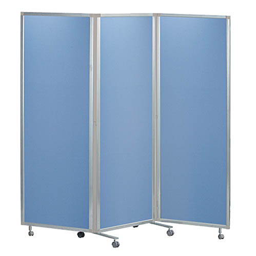 マグネットパーティション 三つ折れ衝立タイプ 幕部布ブルー W1800×H1725 ローパーテーション 間仕切り 仕切り 送料無料 新品 オフィス家具 キャスター付