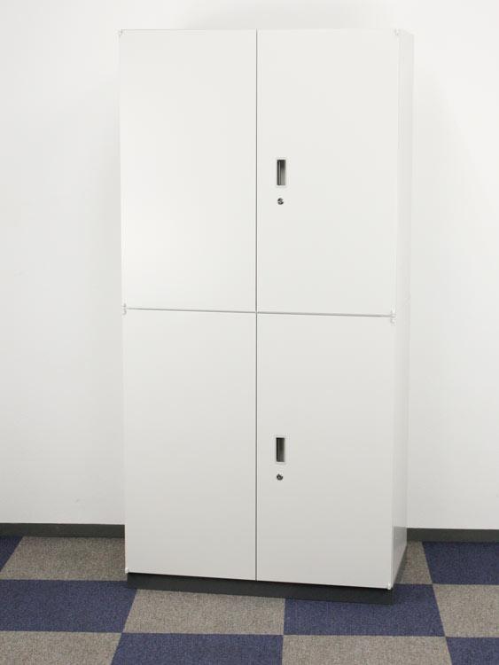 上下2段両開き保管庫セット 奥行500mmタイプ ベース付 両開きキャビネット くろがね製:グロウビック?シリーズ JH-GU0995H アウトレット オフィス家具