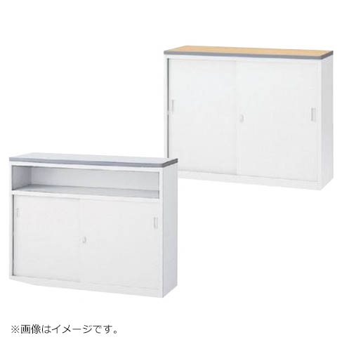 ハイカウンター 鍵付き ホワイト W1200mm Sタイプ書庫型/Uタイプ中棚型 日本製 完成品 セイコー製:NSカウンターシリーズ W1200xD454xH950 NSH-12_W 新品 オフィス家具