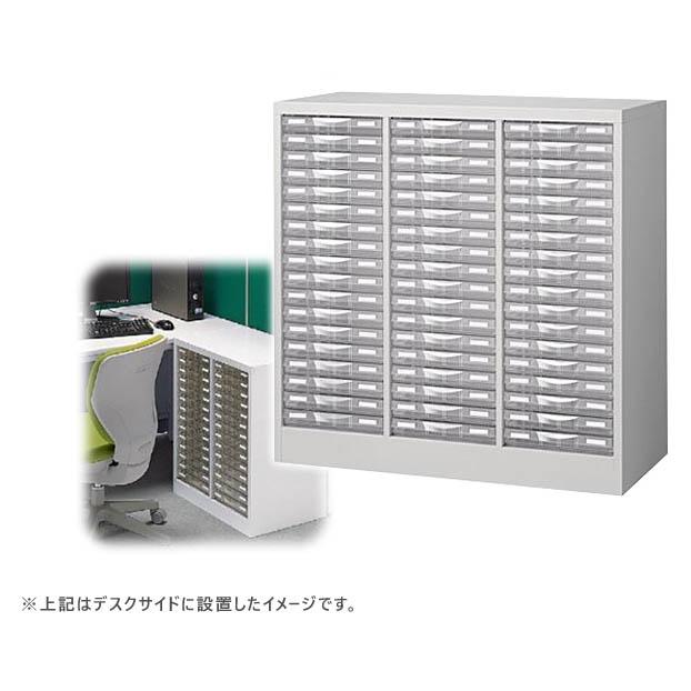 スーパーセール大特価! トレー書庫 透明プラスチック引出し整理ケース B4判床置型 3列浅型18段タイプ ホワイト色 日本製 完成品 セイコー製 W880xD400xH880 B4W-P318S 新品 オフィス家具