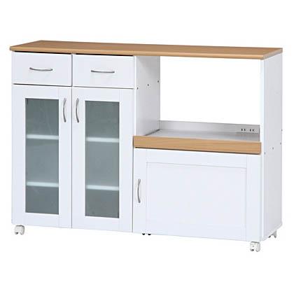 キッチンカウンター キッチンワゴン 幅120cm 2口コンセント レンジ台 食器棚 キッチン収納 大容量 木製 キャビネット 収納 家具 収納棚 不二貿易製:Sageシリーズ 96820 新品 オフィス家具