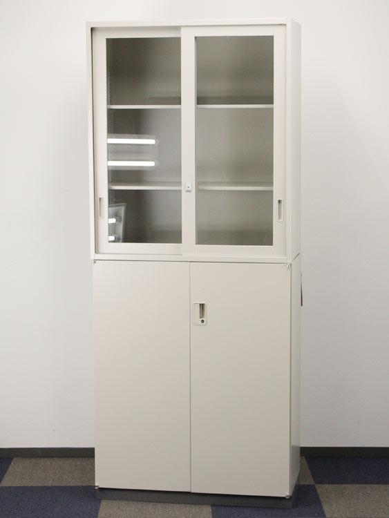 上下書庫 2段書庫 ガラス引き違い書庫+両開き書庫 ベース付き 事務用収納庫 コクヨ製 W900xD450xH2160 UH-G12F1NT+UH-S11F1T+UHB-1F4N アウトレット オフィス家具 未使用品 鍵付 ベース付き