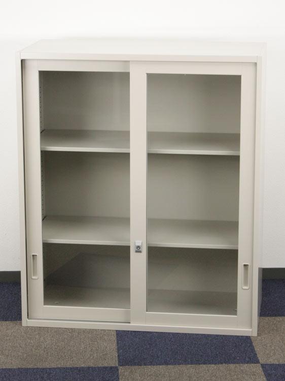 ガラス引き違い書庫 スチール書庫 上置用 スライド書庫 収納庫 ガラス引戸 上置き用 コクヨ製 W900xD450xH1050 UH-G12F1NT アウトレット セット オフィス家具 未使用品 鍵付