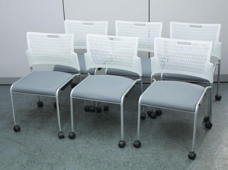 スタッキングチェア 6脚セット ミーティングチェア 会議椅子 キャスター付き 中古チェア オカムラ製:RETE レーテシリーズ 81R2AY FFW9 中古 セット オフィス家具