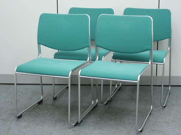 ミーティングチェア 4脚セット スタッキングチェア 中古チェア 会議椅子 イトーキ製 KKR-200GB-Z9G7 中古 セット オフィス家具
