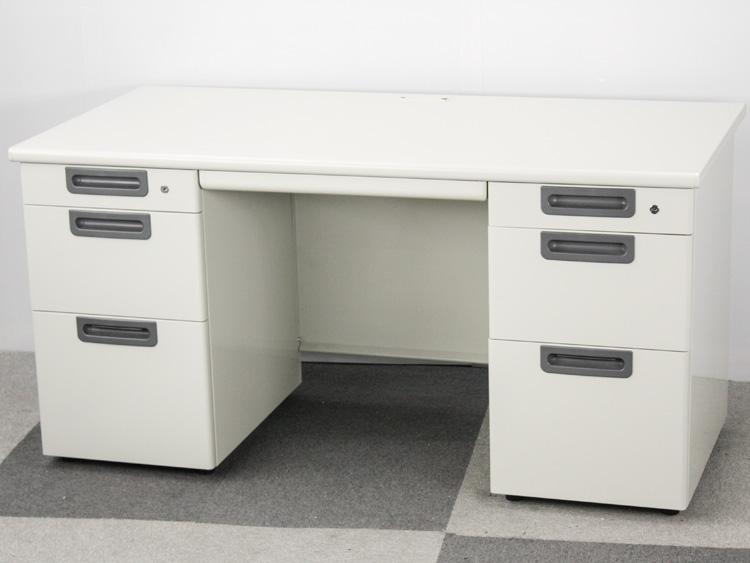 両袖デスク 両袖机 役員用デスク 事務机 スチールデスク 中古デスク プラス製:LAシリーズ W1400xD700xH700 中古 セット オフィス家具 鍵付