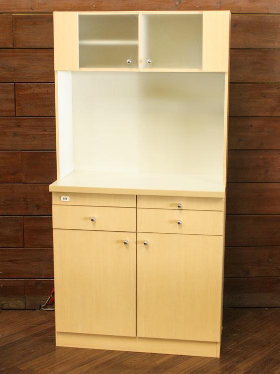 キッチンキャビネット キッチンボード 上棚付き 木製 キッチンシェルフ 水屋 アメニティ家具 中古家具 イトーキ製 W900xD450xH1800 HAK-909AW-H 中古 オフィス家具