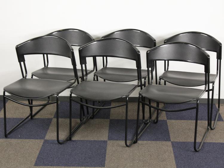 スタッキングチェア 6脚セット 会議イス ミーティングチェア パイプ椅子 中古チェア スチールケース製:assisaシリーズ 中古 セット オフィス家具