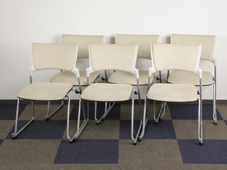 ミーティングチェア 6脚セット スタッキングチェア 会議イス パイプ椅子 中古チェア イトーキ製:マノス Manossシリーズ KLC-340GB-W8H8 中古 セット オフィス家具