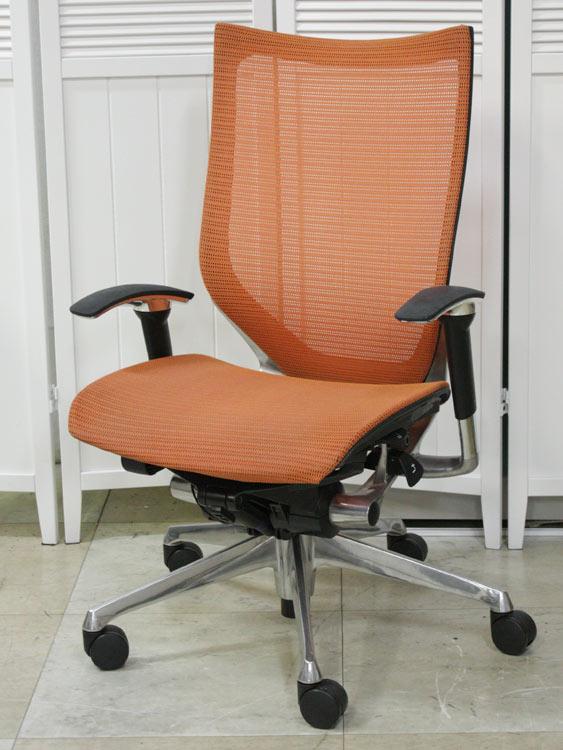 オフィスチェア マネージメントチェア ハイバック スタンダードメッシュ ポリッシュ脚 アジャストアーム 高機能チェア 役員用椅子 高級チェア 中古チェア 完成品 オカムラ製:バロンシリーズ CP35AR 中古 セット オフィス家具
