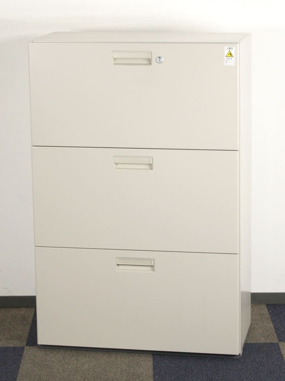 3段ラテラル書庫 引出型書庫 ラテラル書庫 3段書庫 中古書庫 コクヨ製:NSシリーズ W800xD400xH1205 BWS-SL368F1 アウトレット オフィス家具 未使用品 鍵付 ベース付き