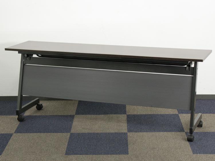 会議テーブル フラップテーブル 幕板付き・棚付き フォールディングテーブル サイドフォールドテーブル 中古テーブル W1800xD450xH700 中古 セット オフィス家具